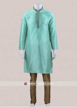 Sea Green Art Silk Kurta Set