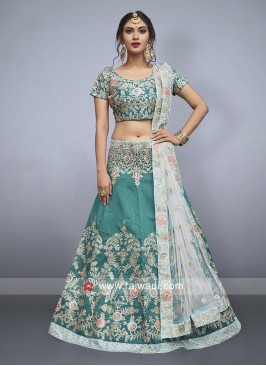 Sea Green Art Silk Lehenga Choli