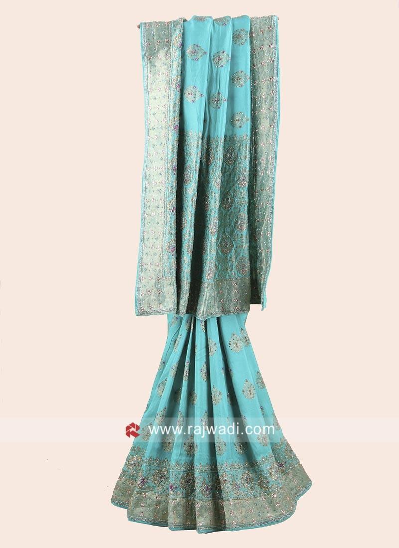 Sea Green Banarasi Silk Embroidered Saree
