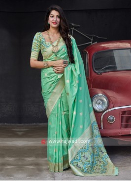 Sea Green Banarasi Silk Saree