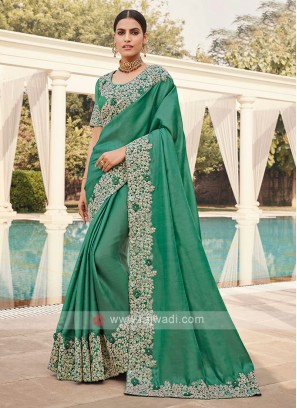 Sea Green Border Work Saree