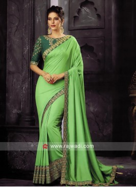 Sea Green Border Work Saree with Tassels