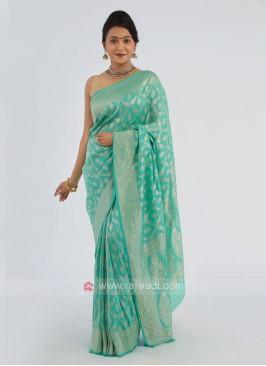 Sea Green Chiffon Saree