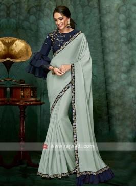 sea green chiffon silk saree