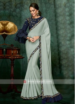 sea green chiffon silk saree