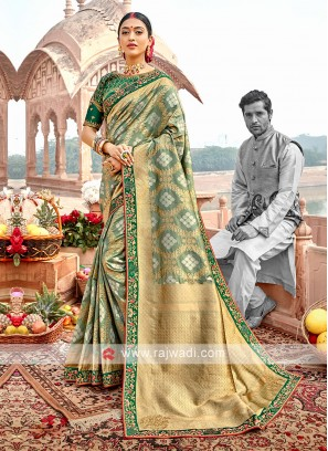 Sea Green Color Banarasi Silk Saree