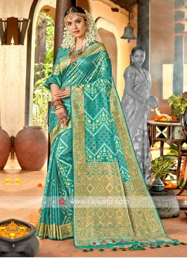 Sea green Color Banasari Silk Saree