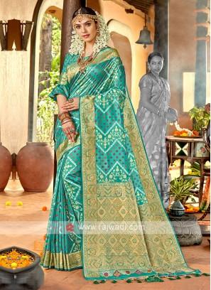 Sea green Color Banasari Silk Saree