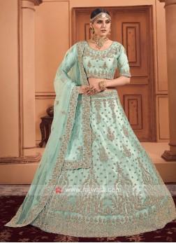 Sea Green Color Diamond Work Lehenga Choli With Du