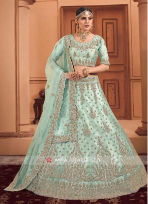 Sea Green Color Diamond Work Lehenga Choli With Dupatta
