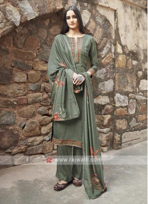Sea green Color Embroidery Suit
