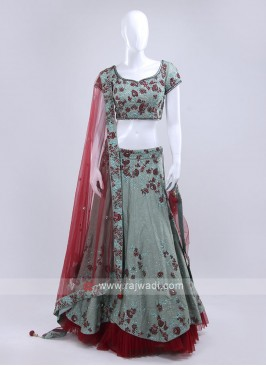 Sea green color lehenga choli with red dupatta