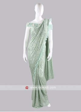 Sea green color party saree