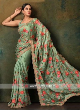 sea green color satin chiffon saree