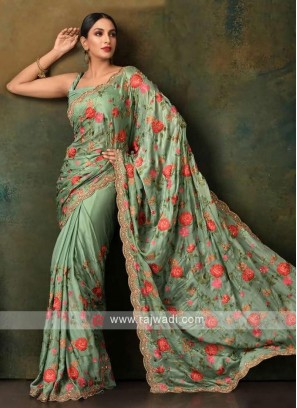 sea green color satin chiffon saree