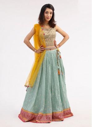 Sea Green Color Wedding Choli Suit