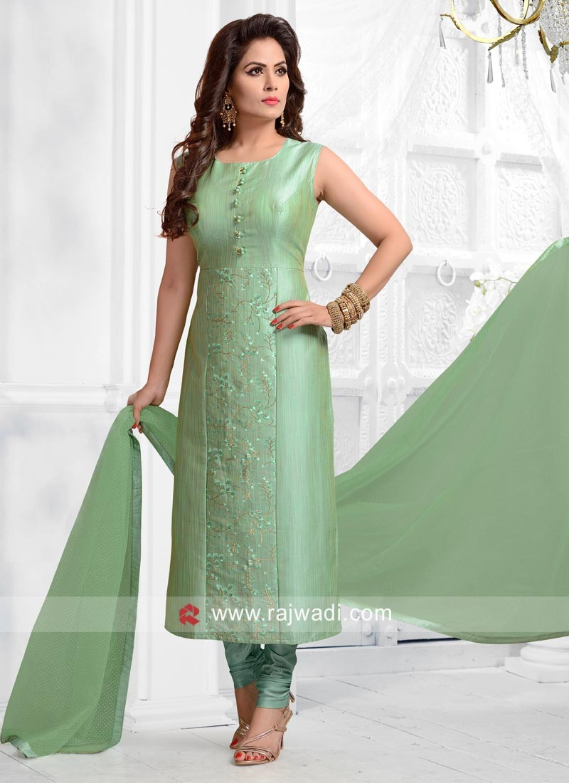 5194280574 Sea Green Cotton Silk Salwar Suit. Hover to zoom
