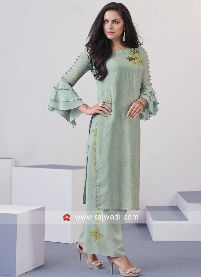 7354ae1446 Sea Green Designer Palazzo Salwar Kameez. Hover to zoom