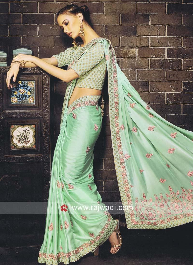 Sea Green Designer Saree with Blouse