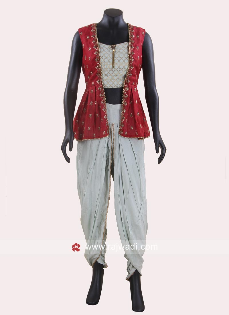 Sea Green Dhoti Suit with Red Koti