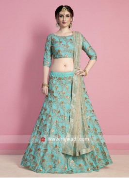 Sea Green Embroidered Lehenga