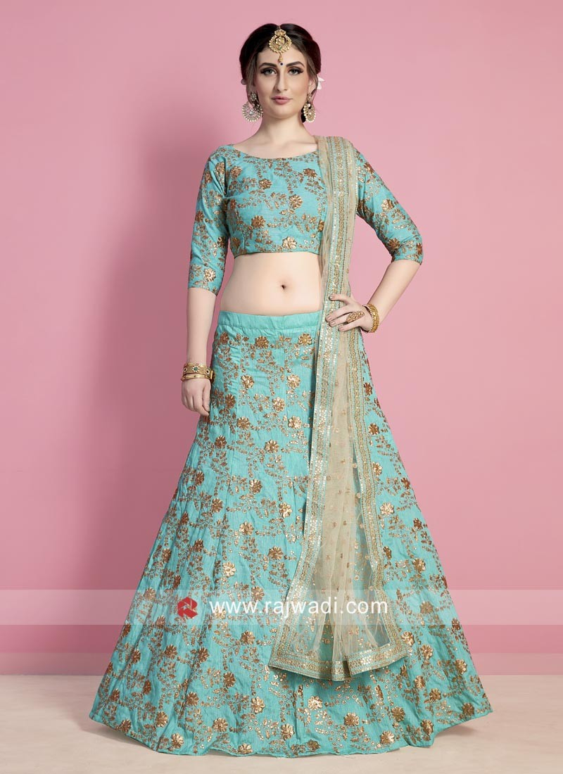 7132d522f4795d Sea Green Embroidered Lehenga. Hover to zoom
