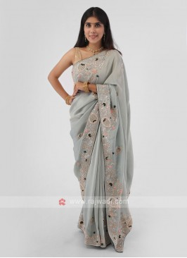 Sea Green Embroidered Shimmer Silk Saree