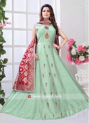 Sea Green Floor Length Anarkali with Red Dupatta