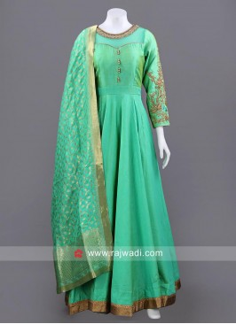 Sea Green Full Length Anarkali Set with Chunni