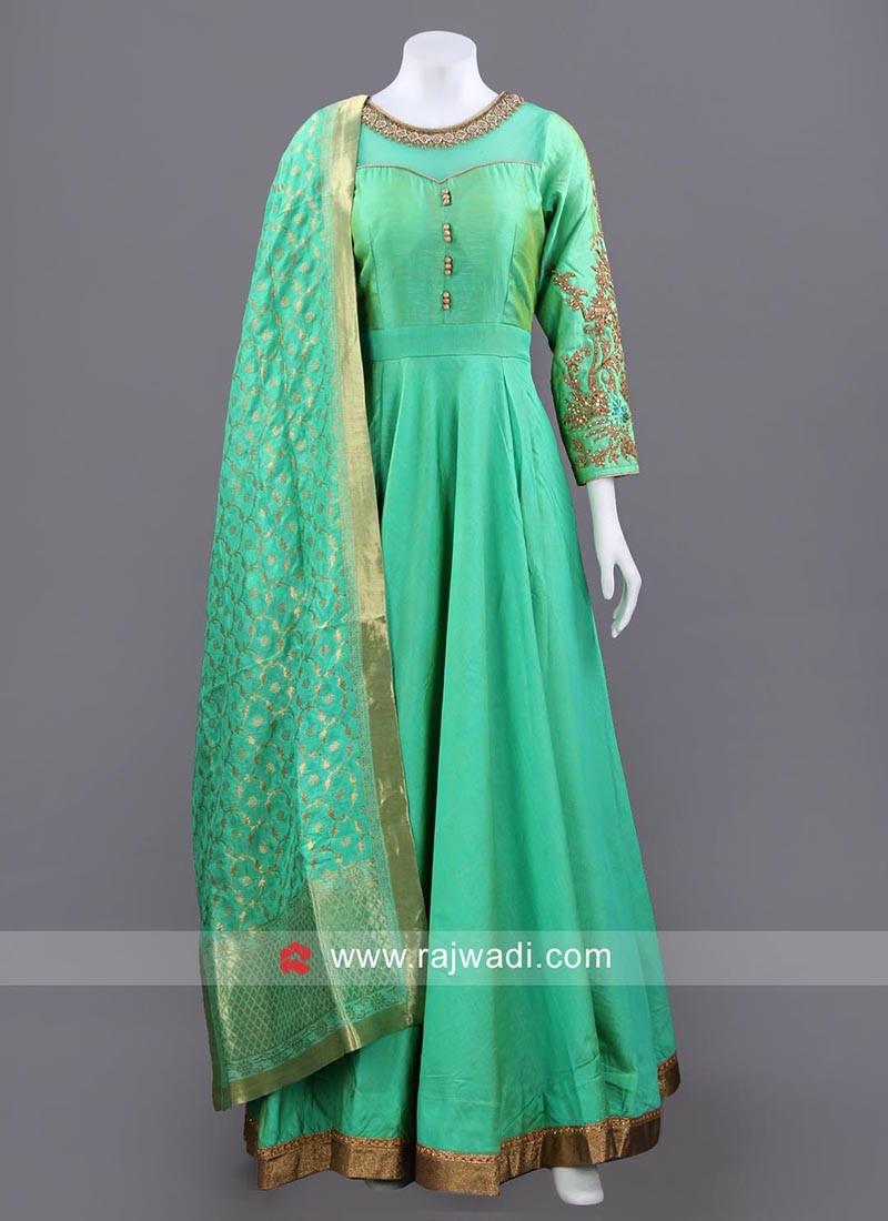 Sea Green Full Length Anarkali Set with Chunni