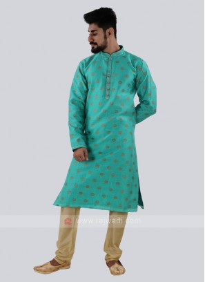 Sea Green & Golden Kurta Pajama
