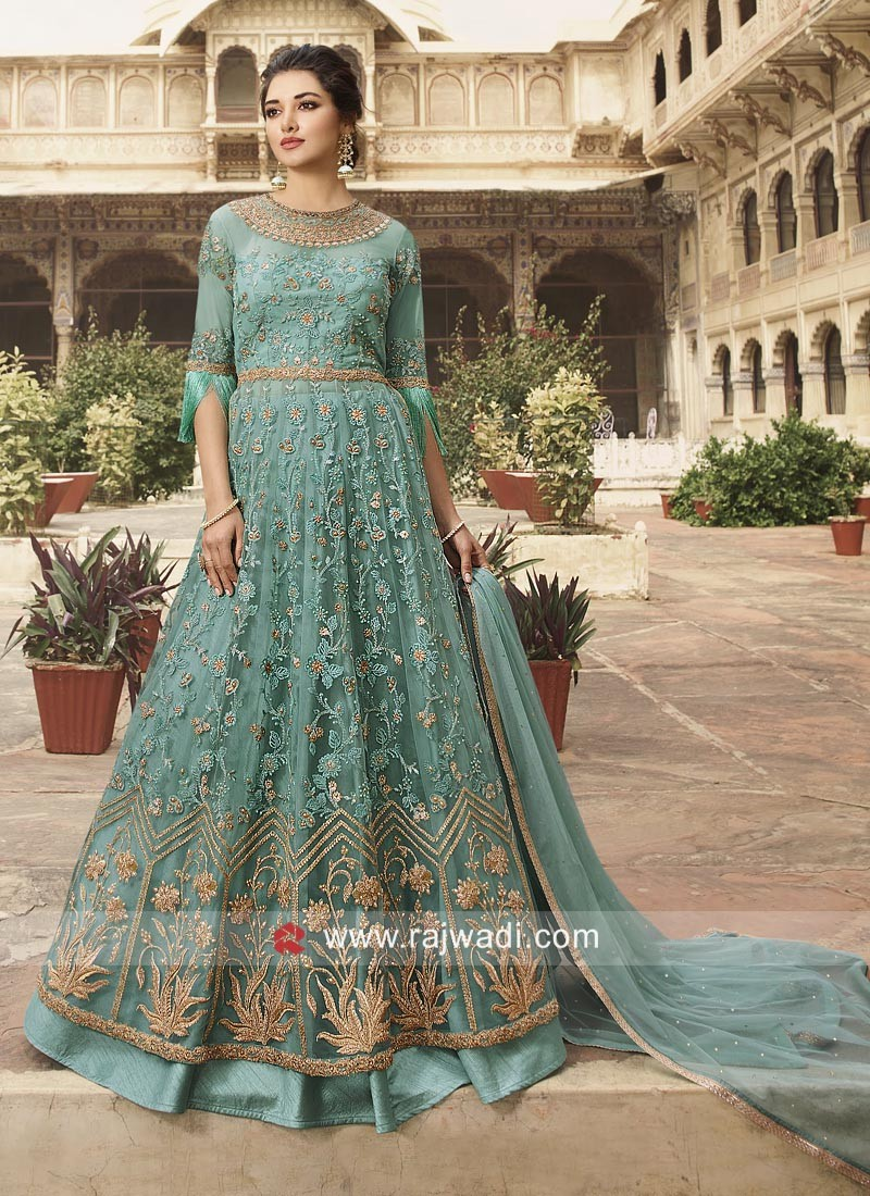 Sea Green Heavy Work Suit for Eid