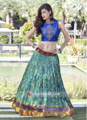 Sea Green Lehenga with Dark Blue Choli
