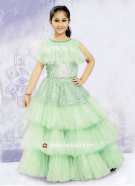 Sea Green Multi Layer Choli Suit