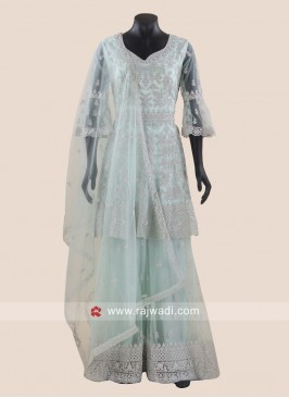 Sea Green Net Gharara Suit with Dupatta