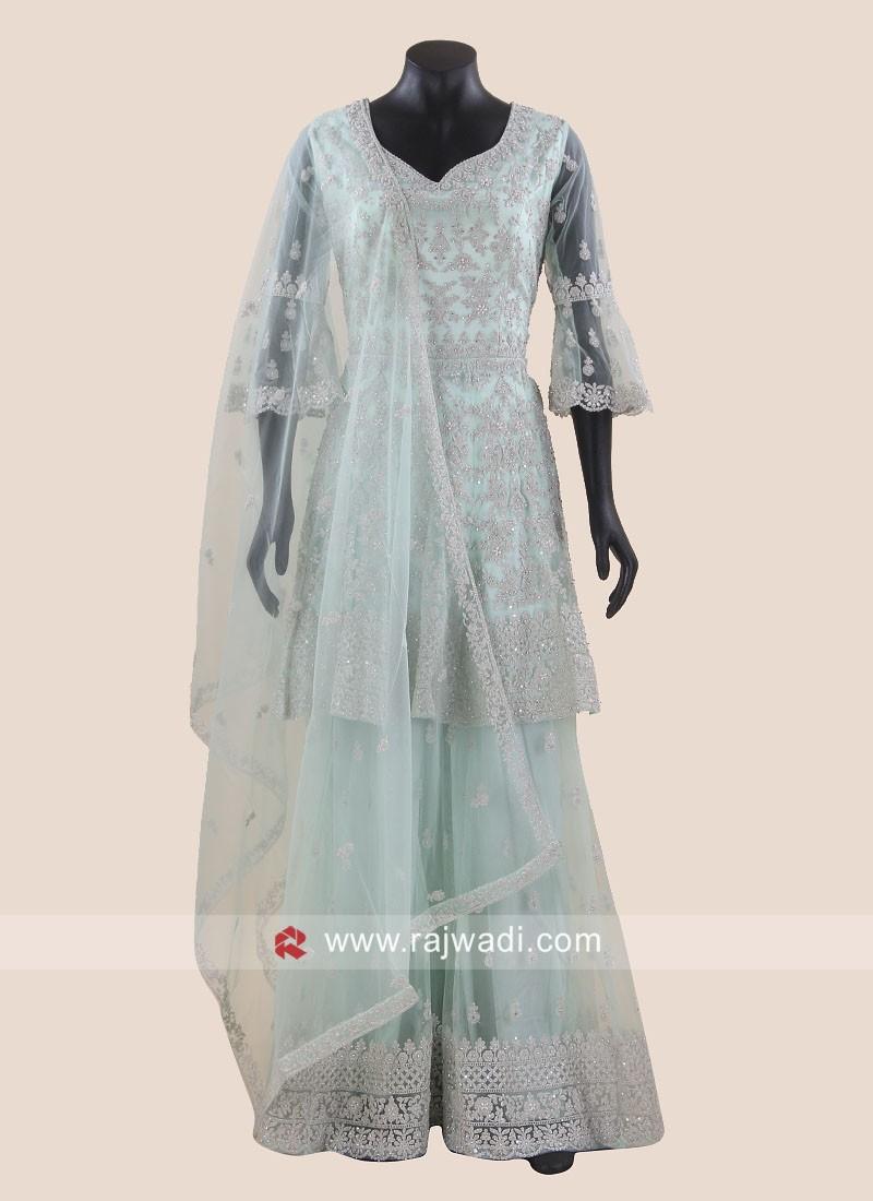 Sea Green Net Gharara Suit with Dupatta