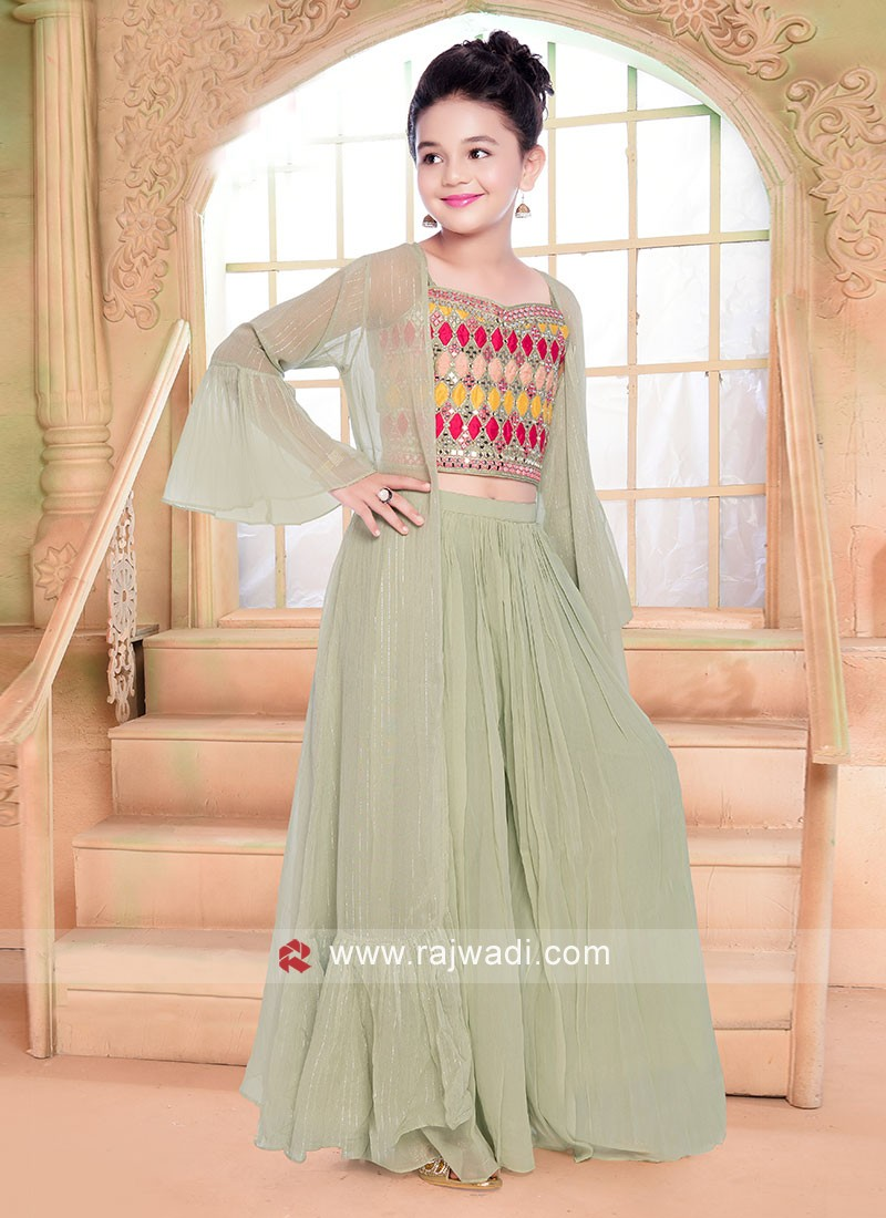 Sea Green Palazzo Suit With Bell Sleeved Jacket