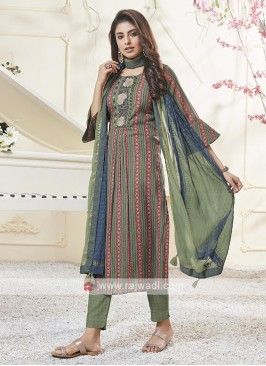 Shagufta Sea Green Pant Salwar Suit