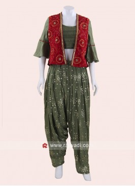 Sea Green Patiala Suit with Red Koti