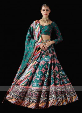 Sea Green Patola Print Unstitched Lehenga Choli