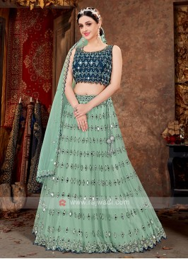 Sea Green & Peacock Blue Net Lehenga Choli
