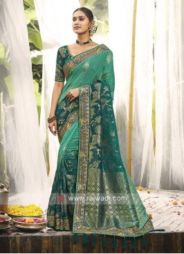 Sea Green & Peacock Blue Shades Silk Saree