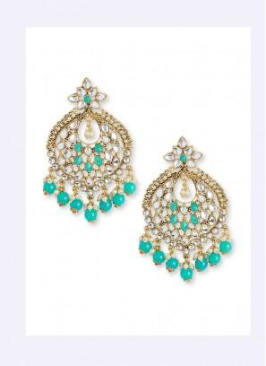 Sea Green Polki Earring Set