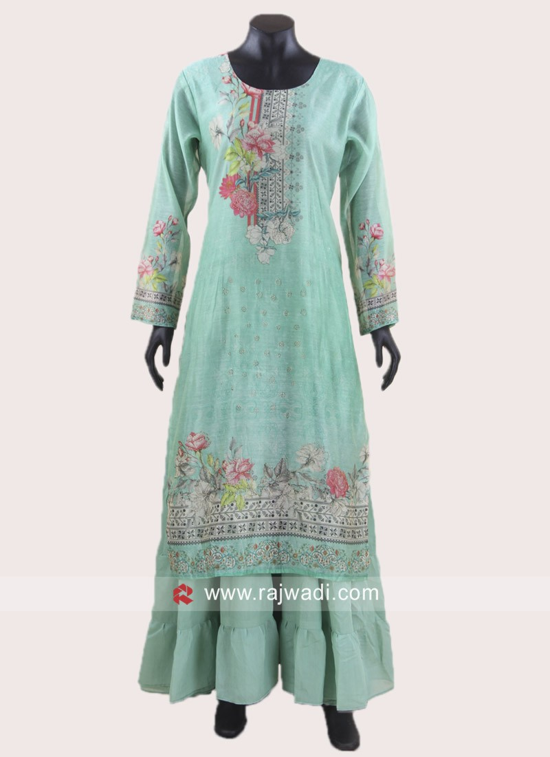Sea Green Printed Layered Kurti
