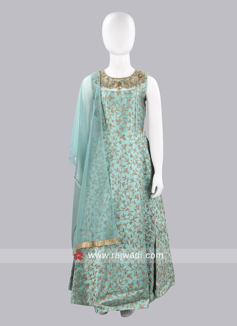 Sea Green Raw Silk Salwar Kameez