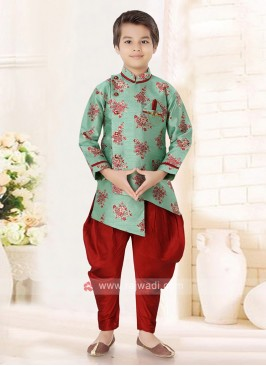 Sea Green & Red Indo Western For Boys