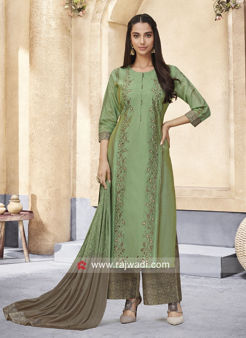 Sea Green Resham Work Palazzo Suit