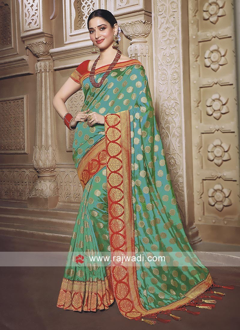 Sea Green saree with blouse