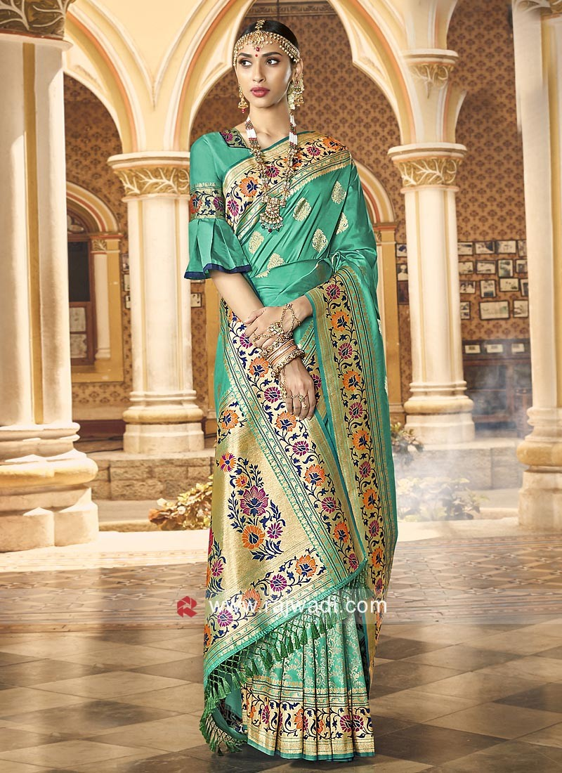 Sea Green Saree with Contrast Border