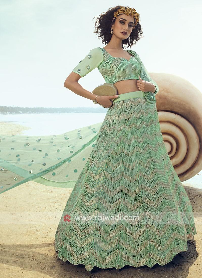 Sea Green Sequins Lehenga Choli